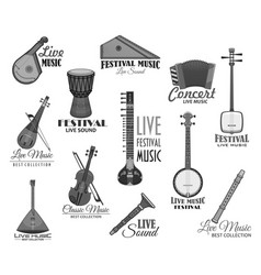 musical instruments for music concert icons vector image