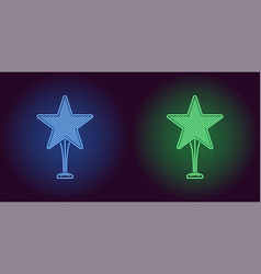 neon icon of blue and green award vector image