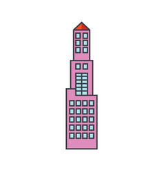office tower line icon concept office tower flat vector image
