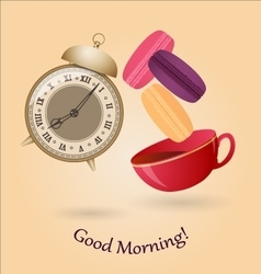 Old alarm clock cup of tea and macaroons vector image