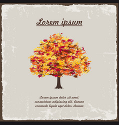 old autumn tree on vintage background vector image