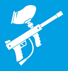 Paintball marker icon white vector