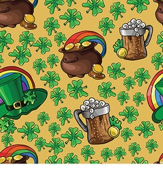 Pattern with beer and a pot of money vector