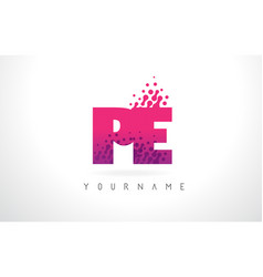 Pe p e letter logo with pink purple color and vector