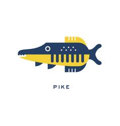 pike freshwater fish geometric flat style design vector image