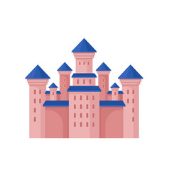 pink royal castle with high towers and blue roof vector image