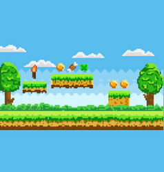 Pixel-game scene with grass trees and awards vector