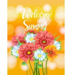 poster advertising spring flowers gerber vector image