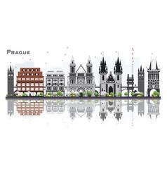 Prague czech republic city skyline with gray vector