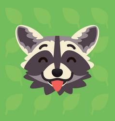 racoon emotional head of cute vector image