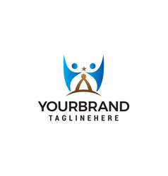 reach stars people logo design template vector image