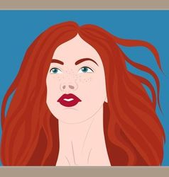 Red-haired girl in the wind vector