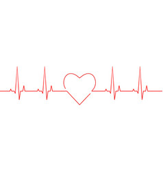 Red heartbeat and heart rate line vector