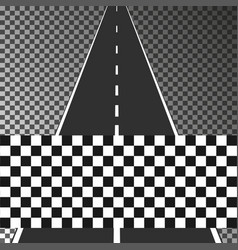 road with finish flag on transparent background e vector image