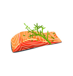 Salmon steak with dill seafood product vector