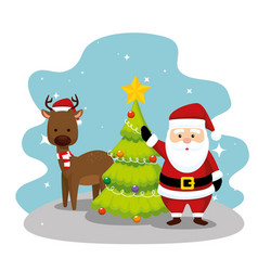 santa claus with deer and pine tree vector image