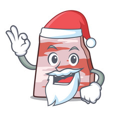 Santa pork lard mascot cartoon vector