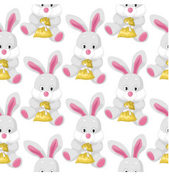 seamless pattern with bunnies cute animal vector image