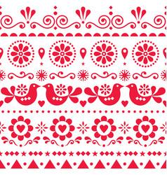 seamless scandinavian olk art pattern vector image