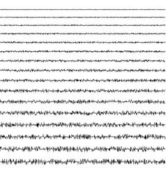 Set horizontal line doodles seismic waves of vector