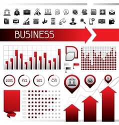 set infographics and business icons vector image