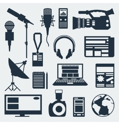 Set journalism icons vector