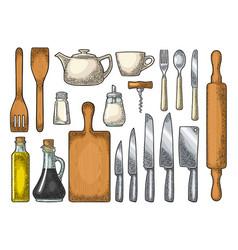 Set kitchen utensils vintage engraving vector