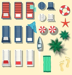 Set of beach objects in flat style vector image