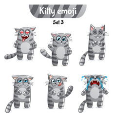 Set of tabby cat characters set 3 vector