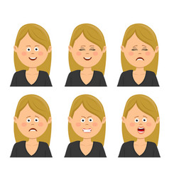 Set of young blonde woman with different emotions vector