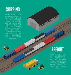 shipping freight isometric banner vector image