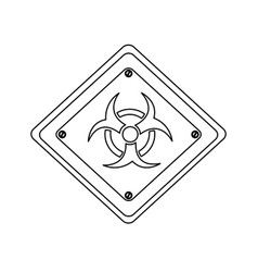 Silhouette metal biohazard warning sign icon vector