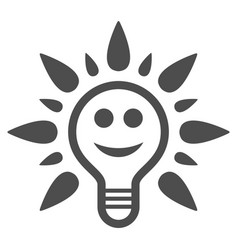 smile light bulb flat icon vector image