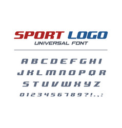 sport logo universal italic font fast and strong vector image