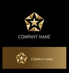 Star polygon geometry gold logo vector
