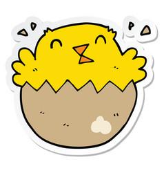 Sticker of a cartoon hatching chick vector