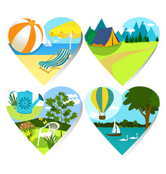 Summer holiday hearts vector