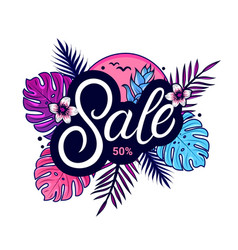 summer sale banner design with jungle plants vector image
