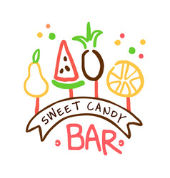 Sweet candy bar logo colorful hand drawn label vector