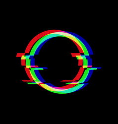 symbol circle in glitch style round vector image