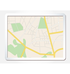 tablet screen with city map vector image