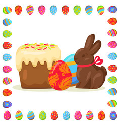 Tasty easter treats in eggs frame vector