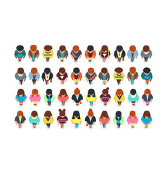 top view standing people cartoon man and woman vector image
