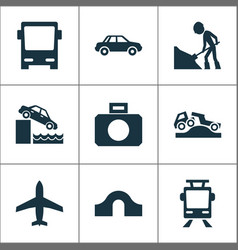 Transportation icons set with car hump bridge vector