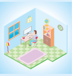 using computer in a working room isometric vector image