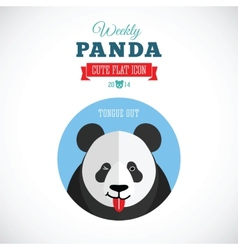 Weekly Panda Cute Flat Animal Icon - Tongue Out vector image