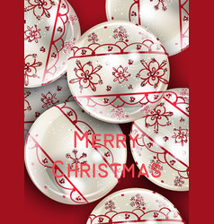white christmas balls with red ornament vector image