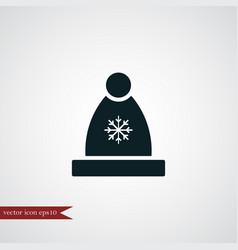 Winter hat icon simple vector