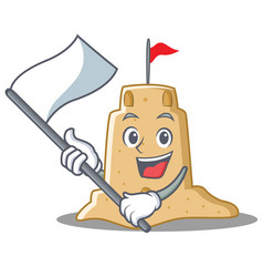 With flag sandcastle character cartoon style vector