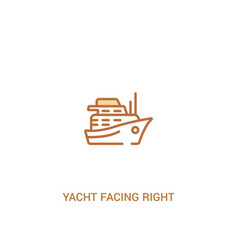 Yacht facing right concept 2 colored icon simple vector